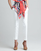 Etro Slim Straight Ankle Pants, Off White