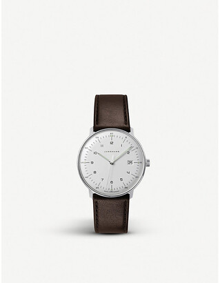Junghans Mens Silver 041/4461.00 Max Bill Stainless Steel And Leather Quartz Watch