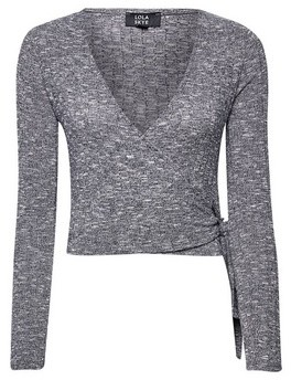 Dorothy Perkins Womens Lola Skye Grey Ballerina Wrap Top, Grey