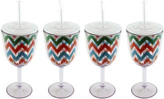 Berghoff CookNCo Set of (4) 13-oz Acrylic Wine Glasses,Chevron Pattern