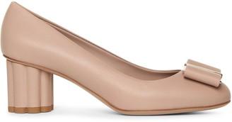 Salvatore Ferragamo Capua 55 stone calf flower heel pumps