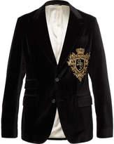 Dolce & Gabbana Black Slim-fit Embroidered Stretch Cotton-velvet Blazer