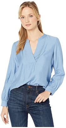 Vince Camuto Long Sleeve Flowy Rumple Split-Neck Blouse (Glacier Valley) Women's Clothing