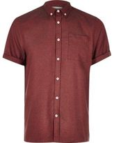 River Island MensRed flannel short sleeve shirt