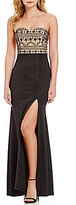 B. Darlin Strapless Opaque Beaded Long Dress