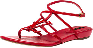 Louis Vuitton Red Patent Leather Logo Strappy Flat Sandals Size 39
