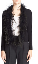 Milly Maribou Feather Cardigan Sweater