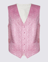 Marks And Spencer Pure Silk 5 Button Floral Waistcoat