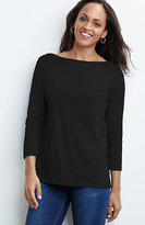 J. Jill Perfect Pima Seamed Boat-Neck Tee