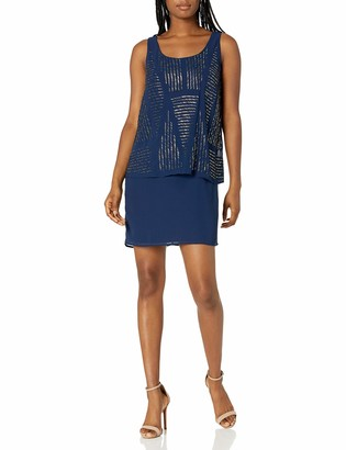 Laundry by Shelli Segal Women's All Over Beaded Pop Over Cocktail