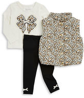 Flapdoodles Girls 2-6x Animal Print Puff Vest, Top and Leggings Set