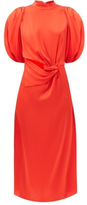 Johanna Ortiz Organic Construction Gathered Silk Dress - Red