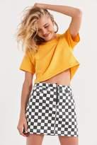 BDG Checkered Denim Zip Mini Skirt