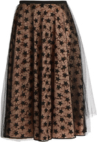 No.21 NO. 21 Layered star-mesh and lace midi skirt