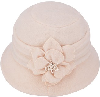 Lawliet Women Elegant Classic Ladies Soft Wool Cloche Bucket Floral Winter Cap Hat A299 (Ivory)