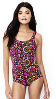 Lands' End Women's Long Tugless One Piece Swimsuit Soft Cup-Deep Sea Paisley Floral