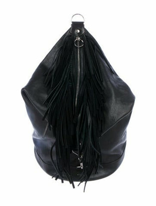 Saint Laurent Leather Fringe Sling Bag Black