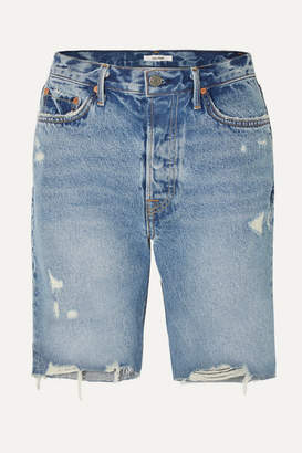 GRLFRND Marjan Distressed Denim Shorts - Mid denim
