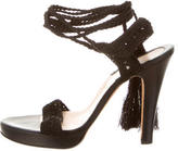 Brian Atwood Platform Knit Lace-Up Sandals