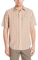 G.H. Bass Men's Short Sleeve Seersucker Small Plaid Shirt