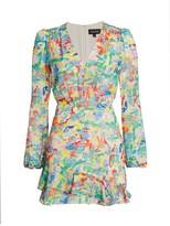 Saloni Ayla Multicolor Paint Silk Mini A-Line Dress