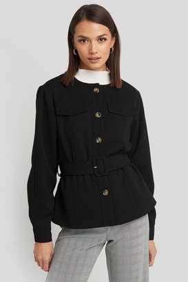 NA-KD Buckle Belted Jacket Black