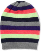 The Elder Statesman Striped Cashmere Beanie - Navy