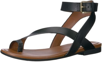 Naturalizer Womens Tally Black Leather Ankle Strap Flat Sandal 8.5 M