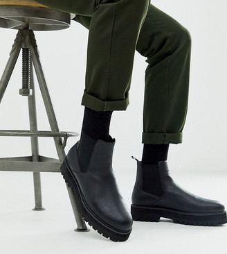 Asos DESIGN Wide Fit chelsea boots in black faux leather with black chunky sole