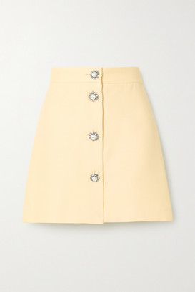Miu Miu Button-embellished Cady Mini Skirt - Off-white