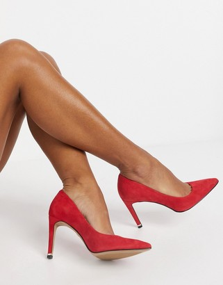 Kenneth Cole riley 85 mid heeled court shoes in red leather