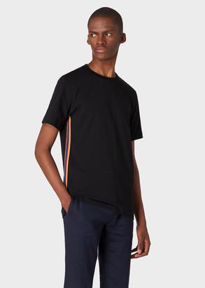 Paul Smith Men's Black Cotton T-Shirt With 'Artist Stripe' Webbing