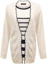 Envy Boutique Womens Striped Knitted Twinset Long Sleeve Cardigan Jumper Top Plus Sizes 18-20