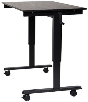 "Elettra High Speed Crank Adjustable Standing Desk Latitude Run Color: Black, Size: 48.5"" H x 48"" W x 29.5"" D"