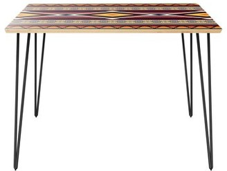 """Wrought Studioâ""""¢ Calvo Dining Table Wrought Studioa Table Top Color: Natural, Table Base Color: Black"""