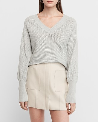 Express Double V Open Stitch Dolman Sweater