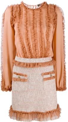 Elisabetta Franchi Ruffle Long-Sleeve Tweed Dress