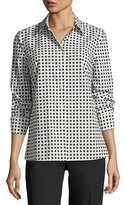 Escada Square-Print Long-Sleeve Poplin Shirt