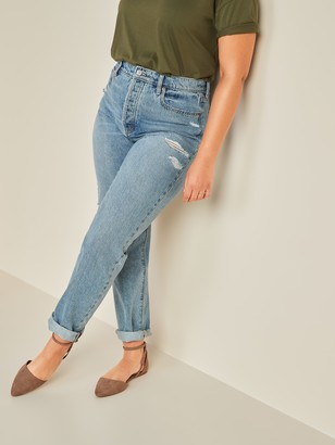 Old Navy Extra High-Waisted Sky-Hi Straight Rigid Ripped Jeans for Women