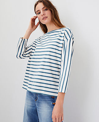 Ann Taylor Petite Striped Pima Cotton Top