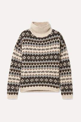 Nili Lotan Catalina Fair Isle Alpaca-blend Turtleneck Sweater - Gray