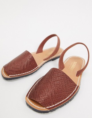 Solillas leather woven menorcan sandals in tan