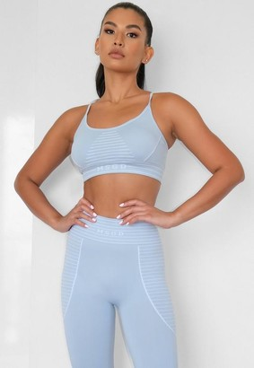 Missguided Blue Seamless Msgd Sports Bra