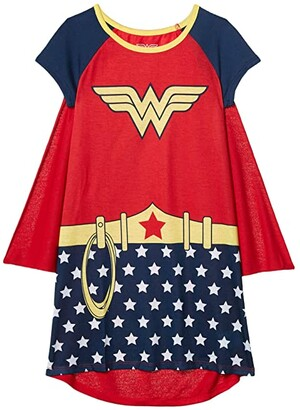 Komar Kids Wonder Woman Gown w/ Cape (Little Kids/Big Kids) (Red) Girl's Pajama Sets