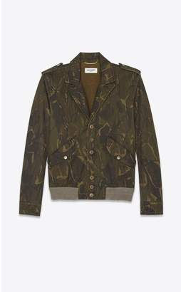 Saint Laurent Bomber Jacket Printed With Military Camouflage