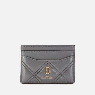 Marc Jacobs Women's Quilted Softshot Card Case - Dark Grey