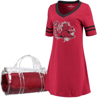 Unbranded Women's Garnet South Carolina Gamecocks Football Jersey Night Dress & Mini Duffel Bag Set