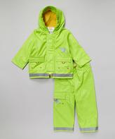 Kushies Green Raincoat & Pant Set - Infant