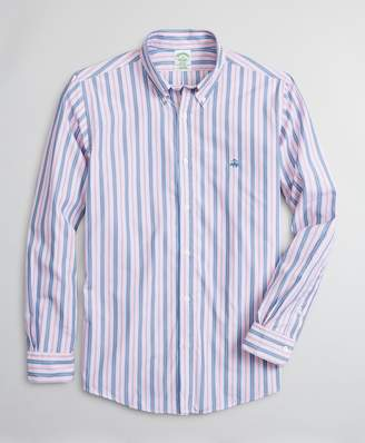 Brooks Brothers Luxury Collection Milano Slim-Fit Sport Shirt, Button-Down Collar Stripe