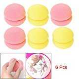 Jovana Sponge Ball Hair Styler Curler Roller For girls, ladies, women - 6 pieces - YELLOW / Pink